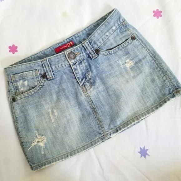 Forever 21 Dresses & Skirts - Forever 21 Distressed denim mini skirt (S)